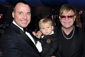 Elton's baby steals the show at daddy's party