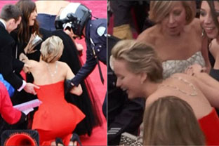 Jennifer Lawrence takes a tumble for second year running