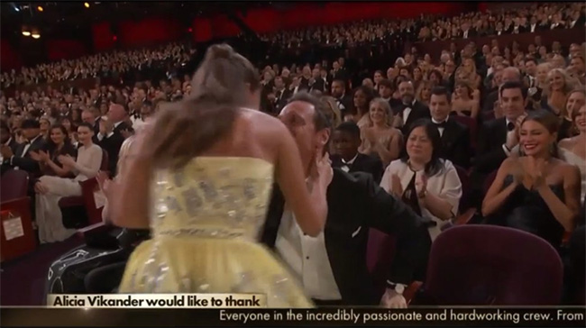 Alicia Vikander scoops her first Oscar for Best Supporting Actress