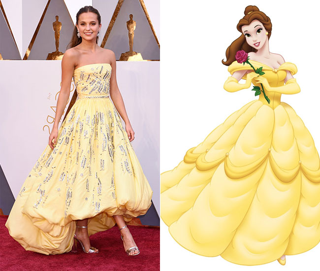 Oscars 2016 Alicia Vikander Channels Beauty And The Beasts Belle