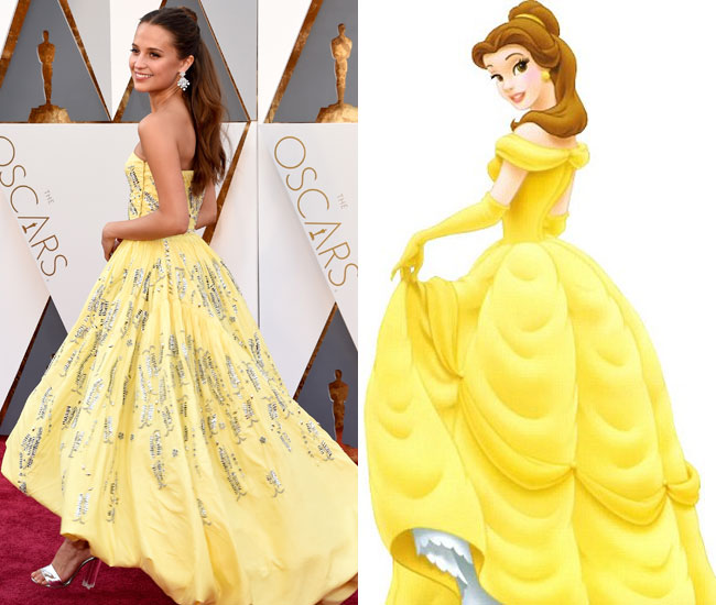 Oscars 2016 Alicia Vikander Channels Beauty And The Beast S Belle