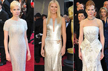 Metallic maidens and scarlet ladies lead the way on the red carpet